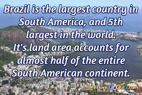Brazil is the largest country in south america and 5th for Good facts about america