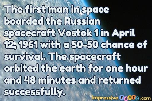 The first man in space boarded the Russian spacecraft Vostok 1 in April 12, 1961 with a 50-50 chance of survival.