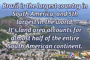 Brazil is the largest country in South America, and 5th largest in the world.
