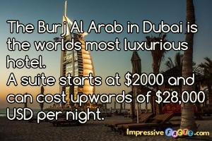 The Burj Al Arab in Dubai is the worlds most luxurious hotel.