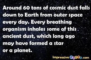 Around 60 tons of cosmic dust falls down to Earth from outer space every day.