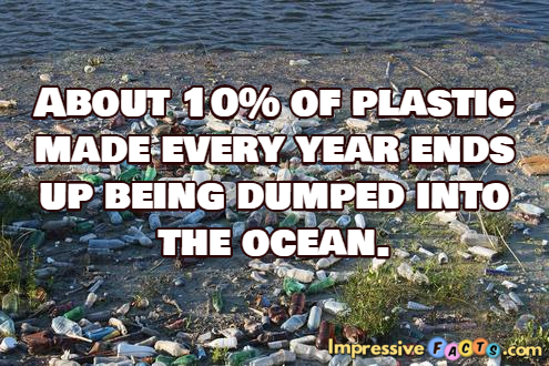 About 10% of plastic made every year ends up being dumped into the ocean.